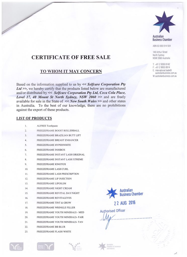 CERTIFICATE OF FREE SALE 002