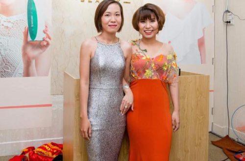 Chị Nguyễn Thị Hữu (bên trái) và CEO Trâm Tạ (bên phải) trong lễ khai trương showroom Trâm Beauty Hồ Chí Minh